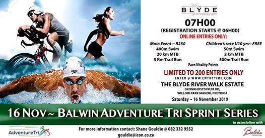 Balwin Adventure Tri Sprint Series 400m Swim  20km Mtb 5km Run