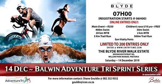 Balwin Adventure Tri Sprint Series 400m Swim  20km Mtb  5km Ru