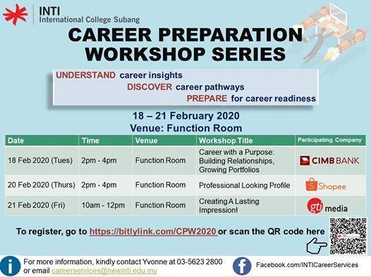 Career Preparation Workshop Series (18 - 21 Feb 2020)