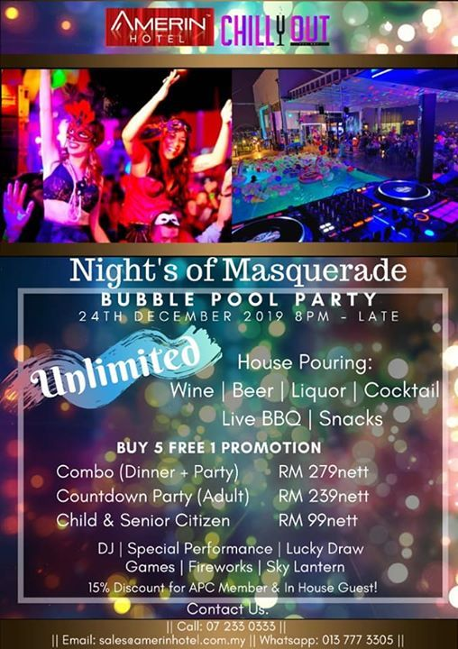 Eve Of Christmas Masquerade Bubble Pool Party