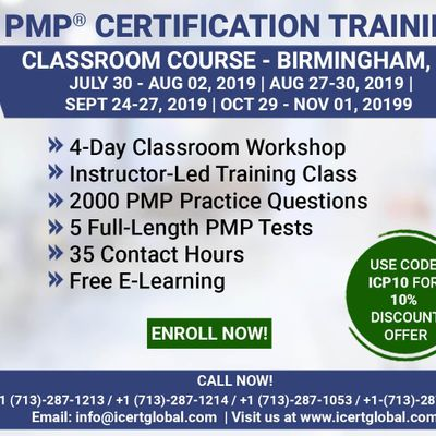 PMP (Project Management) Certification Training in Birmingham AL USA  4-Day (PMP) Boot Camp