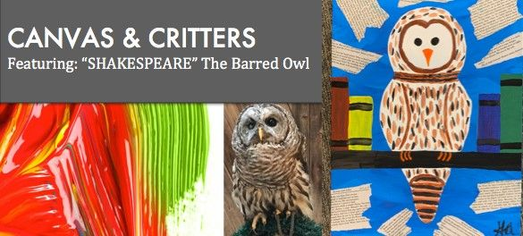 Canvas & Critters Featuring Shakespeare the Barred Owl