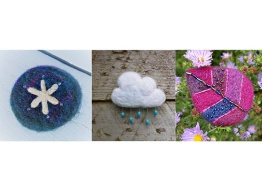 Needle felted and embroidery brooch one day course