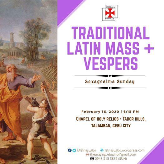 Traditional Latin Mass & Vespers  Sexagesima Sunday