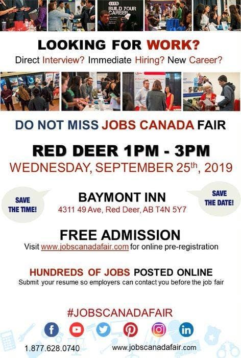 Red Deer Job Fair  September 25th 2019