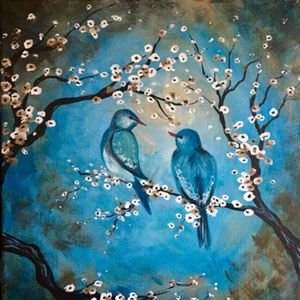 Paint Nite - Vintage Blue Birds