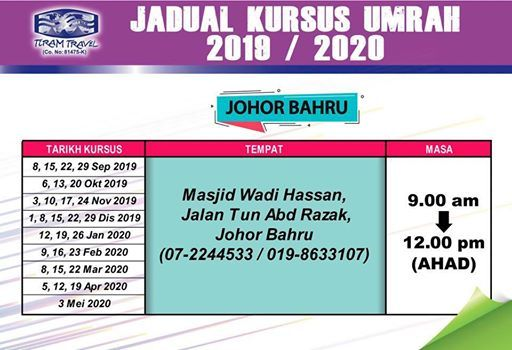 Kursus Umrah JOHOR BAHRU 2019