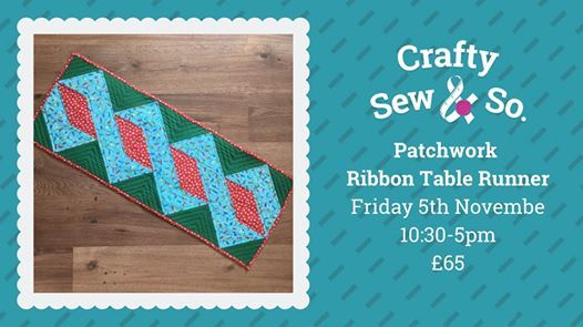 Christmas Ribbon Patchwork Table Runner Sewing Workshop