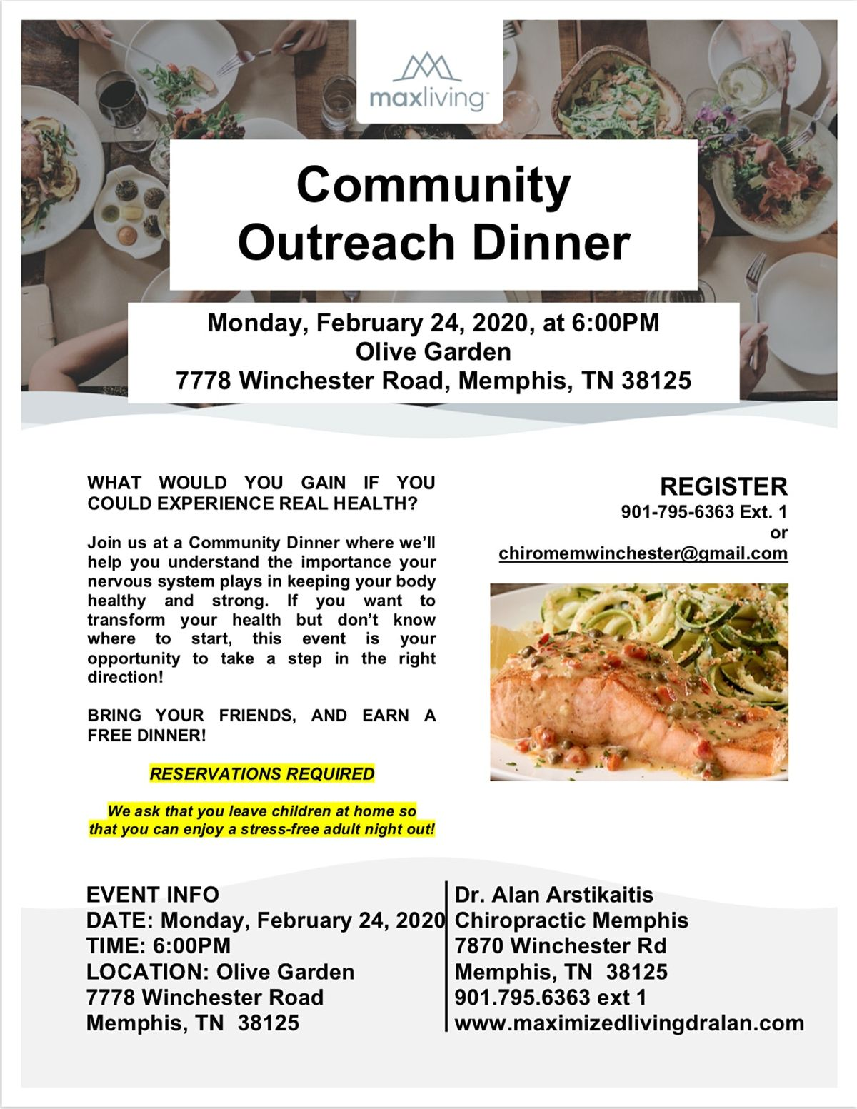 Community Outreach Dinner At Olive Garden Memphis