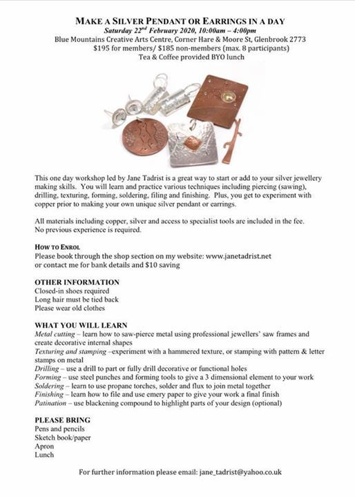 Make your own silver pendant or earrings with Jane Tadrist