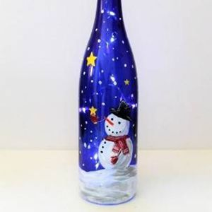 Paint Nite - Starstruck Snowman Wine Bottle with Fair Lights