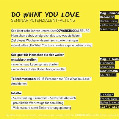 Do What You Love Seminar - Salzburg Juli