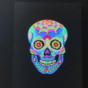 Funky Fridays Fluorescent Skull Painting