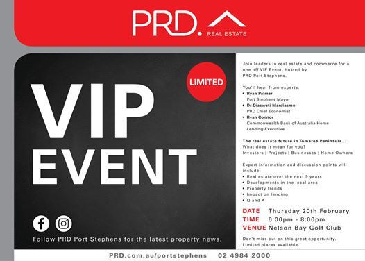 PRD VIP EVENT - The Real Estate Future in The Tomaree Peninsula