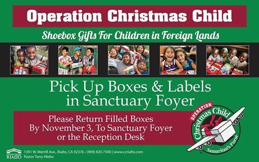 Operation Christmas Child Labels 2019.Operation Christmas Child At Calvary Chapel Rialto Rialto