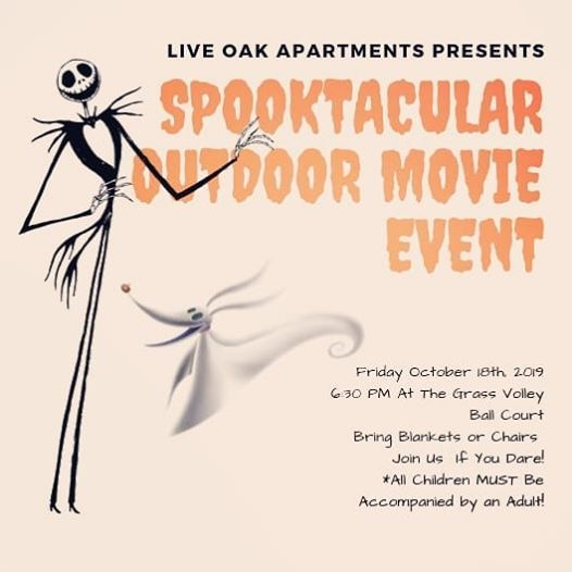Spooktacular Outdoor Movie Event At Live Oak Apartments