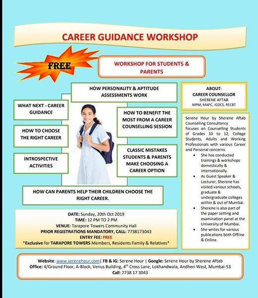 Free Career Counselling Workshop At Tarapore Towers Oshiwara Mumbai