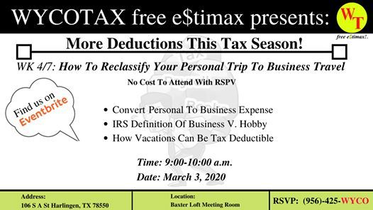 WK 4/7: How To Reclassify Your Personal Trip To Business Travel at Baxter  Lofts, Harlingen