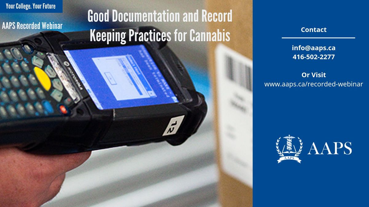 Recorded Webinar  Good Documentation and Record Keeping Practices for Cannabis