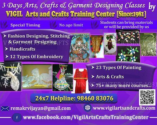 3 Days Arts Garment Designing & Crafts Classes in Trivandrum