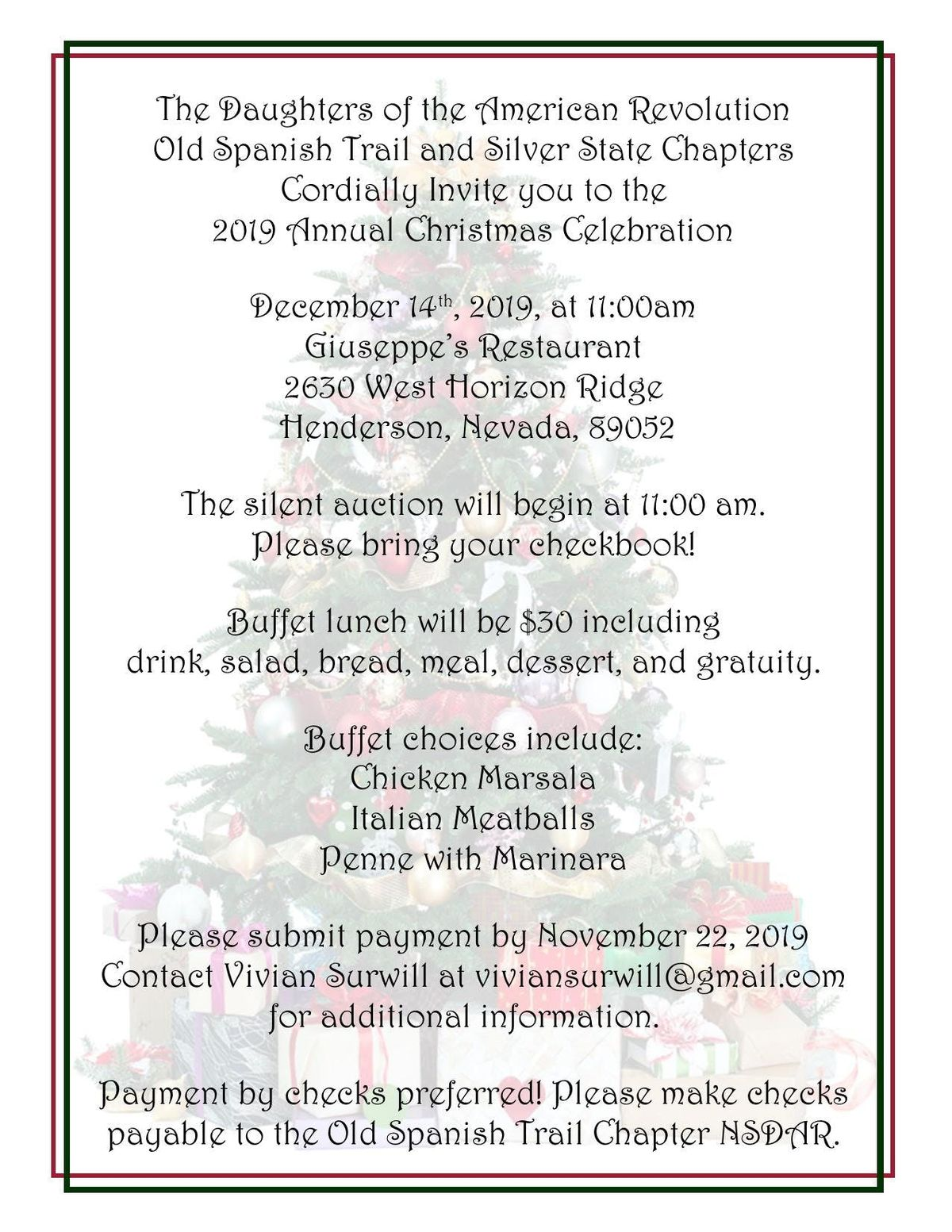 Old Spanish Trail and Silver State Chapters Christmas Luncheon 2019