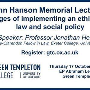 Sir John Hanson Memorial Lecture 2019