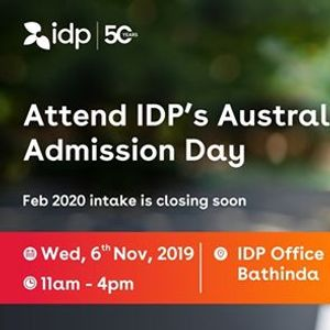 Attend IDPs Australia Admission Day  Bathinda